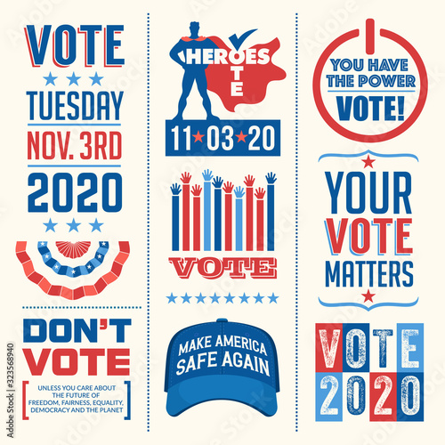 Fototapeta Patriotic design elements and motivational messages to encourage voting in United States 2020 election
