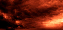 Dark Orange Sky Dramatic Panor...
