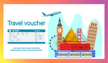 Travel Voucher Website Banner, Page Flat Template. Airlines Flyer, Advertisement. Air Ticket, Boarding Pass Vector Illustration. Famous Landmarks Cartoon Drawing With Text Space. Tourist Attractions