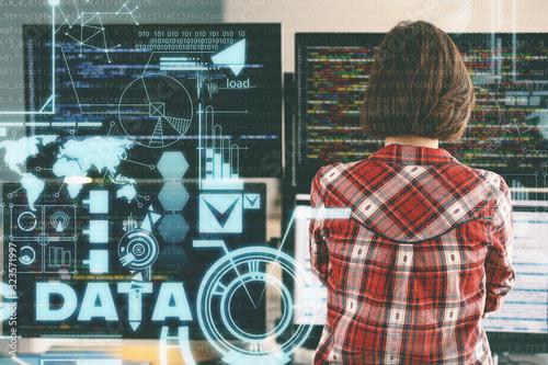 Carta da parati Female programmer working in office, back view