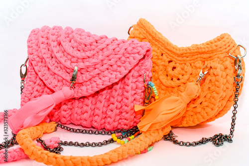 Платно Crochet Clutch Bag neon pink and orange
