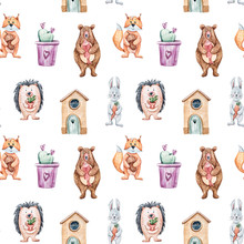 Cute Forest Animals On White Background. Watercolor Hand Painted Kids Seamless Pattern. Can Be Used For Scrapbooking Paper, Design Wrapping Paper, Packaging, Fabric, Background