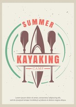 Summer Kayaking Vector Retro Poster Design Template