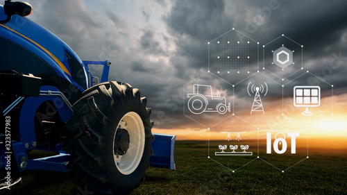 Photo IOT smart farming, agriculture in industry with artificial intelligence and machine learning concept