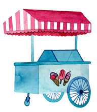 Watercolor Ice Cream Cart Or I...