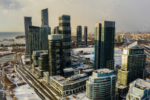 Aerial drone photo Humber Bay Toronto Canada modern highrise architecture