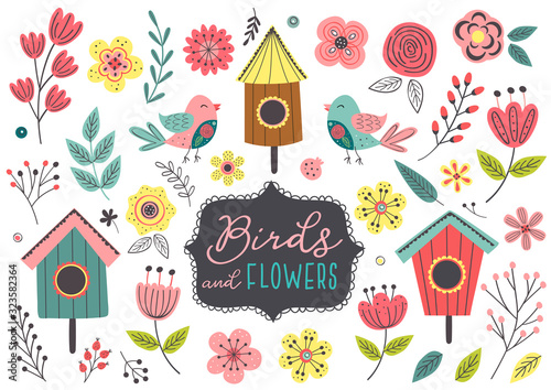 Photo set of isolated spring birds and flowers - vector illustration, eps