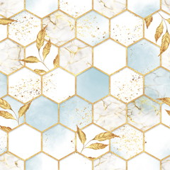 Fototapeta Wzory geometryczne Marble hexagon seamless texture with golden leaves. Abstract background