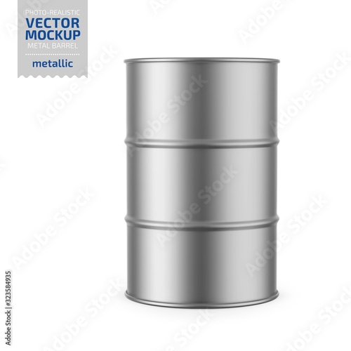 Gray metallic barrel mockup template. Fototapete
