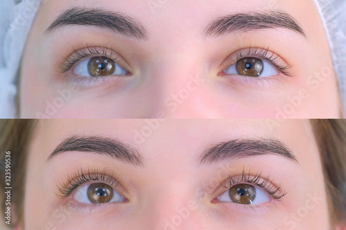 Photo Woman's lashes after and before beauty procedure of eyelash lifting and laminating in beauty clinic, eyes closeup