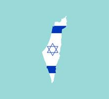 Israel Map, Flag. Vector Illustration, Flat Design.