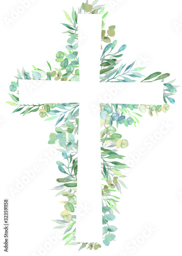 Watercolor easter cross with floral decoration. Fototapete