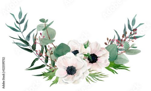 Fotografie, Tablou Watercolor floral arrangement, hand drawn vector image