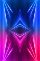 Abstract dark neon background with rays and lines. Blue and pink, purple neon light. Symmetrical reflection, mirroring. Modern futuristic geometric background.