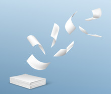 Flying White Paper Sheets From Stack Of Documents. Vector Realistic Illustration Of Chaotic Flight Of Blank Note Pages On Wind On Blue Background. Office Paperworks Concept