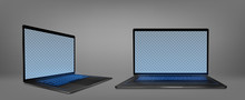 Laptop Computer With Blue Back...