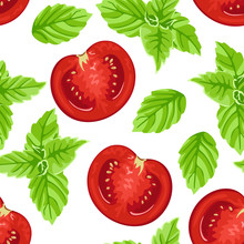 Slices Of Red Tomato And Green...