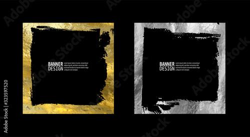 Photo Square golden silver frame set on a black background.