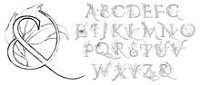 Line Art Alphabet With Flowers...
