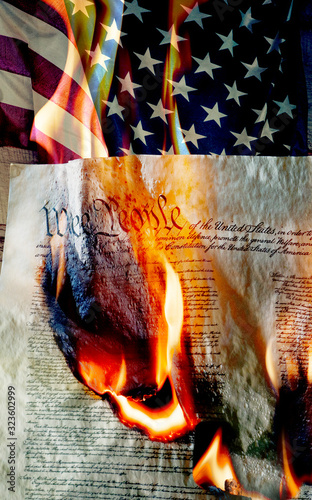 Leinwand Poster American flag with burning constition