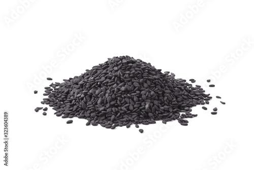 Fototapeta Black sesame seeds isolated on white background obraz