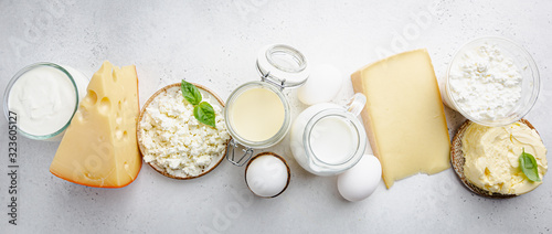 Fotomural Fresh dairy products, milk, cottage cheese, eggs, yogurt, sour cream and butter