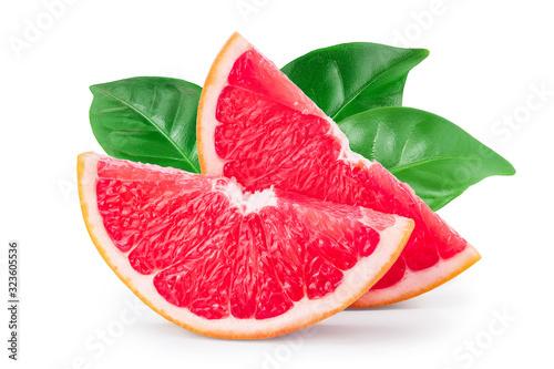 Fototapeta Grapefruit slice with leaves isolated on white background closeup obraz