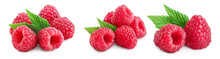 Ripe Raspberries With Leaf Isolated On A White Background, Set Or Collection