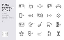 NFC Line Icon Set. Near Field ...