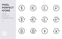 Currency Exchange Line Icon Set. Dollar, Euro, Pound, Russian Ruble, Yen, Bitcoin Minimal Vector Illustration. Simple Outline Money Sign For Financial Application. 30x30 Pixel Perfect Editable Stroke