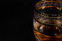 Glass Of Dark Red Whiskey, Bra...