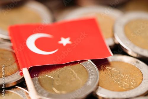 Fototapeta Turkey Flag on coins background : Business and finance concept. obraz