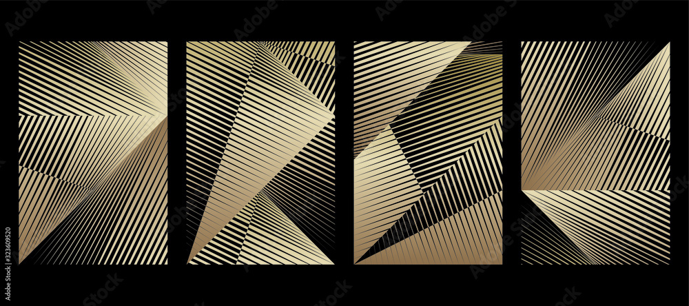 Fototapeta Abstract halftone lines gold background, creative geometric dynamic pattern, vector modern design texture for card, cover, banner, poster, flyer, decoration.