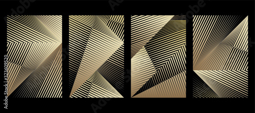 Fototapeta Abstract halftone lines gold background, creative geometric dynamic pattern, vector modern design texture for card, cover, banner, poster, flyer, decoration. obraz