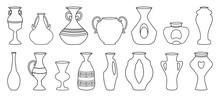 Vase For Flower Outline Vector Illustration On White Background . Pottery Vase Set Icon.Vector Illustration Set Icon Ceramic Pot And Jug.