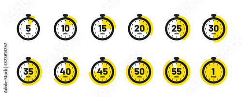 Obraz Set of timer and stopwatch icons. Kitchen timer icon with different minutes. Cooking time symbols and labels - fototapety do salonu