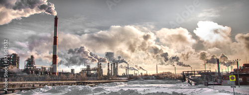 Smoke over the industrial complex. Environmental pollution. Canvas Print