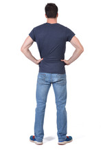 Man From Behind With Hands On His Waist On White Background
