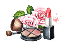 Lipstick, Brushes, Eye Shadows And Rose Flower. Make-up Concept. Hand Drawn Watercolor Illustration,  Isolated On White Background