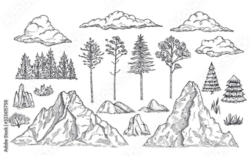 Fototapeta Nature landscape elements. Mount rocks, trees and bush. Sketch isolated park, garden or forest silhouettes. Hand drawn mountains vector set. Illustration rock sketch, landscape mountain obraz