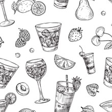 Cocktails Pattern. Sketch Drinks And Fruits Background. Hand Drawn Beverages Vector Seamless Texture. Illustration Cocktail Beverage Drink, Seamless Pattern Sketch