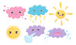 Clouds and Celestial Bodies Smiling and Crying Vector Set