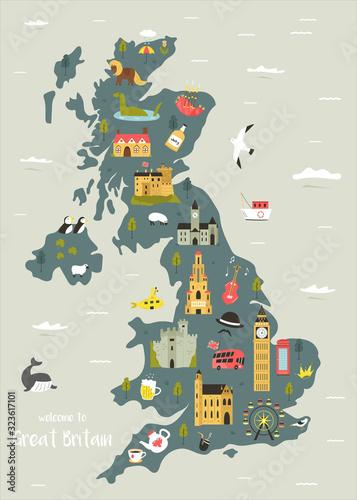 Fotografia, Obraz Vector map of Great Britain with famous symbols