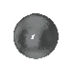 Fototapeta na wymiar Pixelated Metallic ball. Iron sphere. Pixel Art 3d Vector illustration. Isolated on white background..