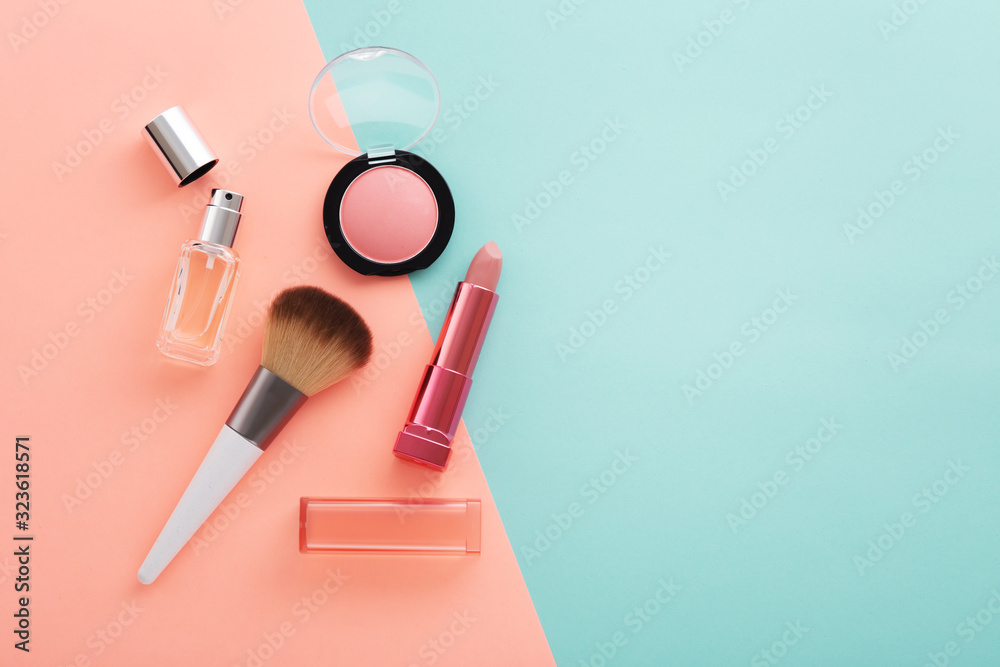 Fototapeta Cosmetic beauty products on pastel color background