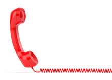Red Retro Telephone Isolated On White Background 3d Rendering
