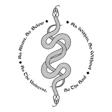 Two Serpents Intertwined. Insc...