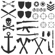 Military Symbols And Icons. Ve...