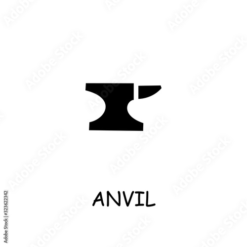 Anvil flat vector icon Canvas Print