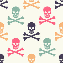 Seamless Pattern With Colorful  Skulls And Crossbones. Modern Seamless Hipster Background.